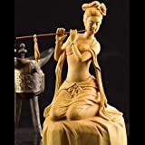 Statues,Sculptures Chinese Style Creative Carving Classical Lady Art Sculpture Flute Erh-HU Woman Figurine Boxwood Craft Decorations for H