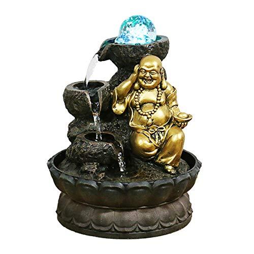 YHDP Zen Figura De Buda Fuente Interior,Feng Shui Méditation Cascada En Cascada...