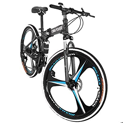 Mountain Bike Ship from US,Owill 21 Speed 3 Spoke 26in Shining SYS Double Disc Brake Bicycle Folding Bike for Adult Teens Bicycle Full Suspension MTB Bikes (Blue)