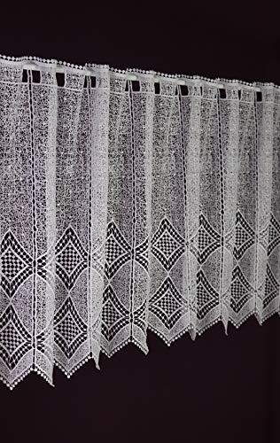 Plauener Spitzen und Stickereien Tenda a Pannello in Pizzo di Pizzo, su Misura, Motivo macramee, Altezza 60 cm, Larghezza della Tenda Grazie al Numero di Pezzi in incrementi di 10 cm, Colore Bianco