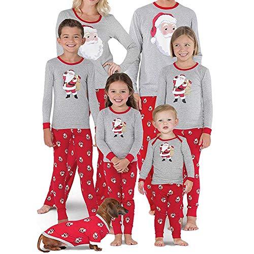 Homebaby Famiglia Pigiama di Natale Donna Mamma Babbo Natale Top Camicetta Pantaloni Pigiama Famiglia Sleepwear Natale Set