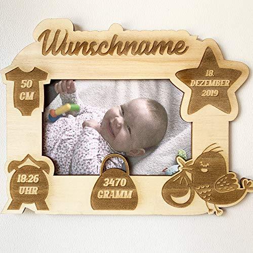 DRYSSON Geburtsgeschenk Bilderrahmen Geschenk zur Geburt individuell mit Daten personalisiert Wunschname Holz Buchstaben Baby Geschenke