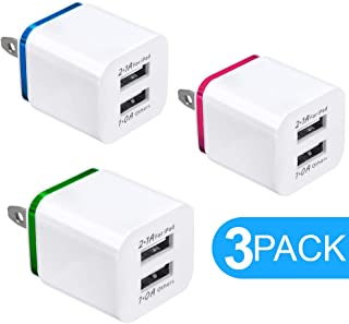 USB Charger, 5V Dual 2-Port 2.1Amp 1.0Amp Wall USB Plug Charger Wall Plug Power Adapter Fast Charging Cube Compatible with Apple iPhone, iPad, Samsung Galaxy, Note, HTC, LG, Etc. (White) 3-Pack