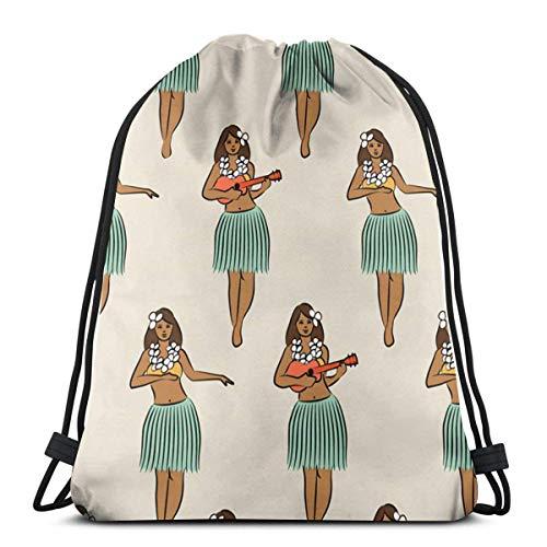 Light Ing Hawaiian Hula Girl Drawstring Backpack Gym Sack Cinch Bag String Bag