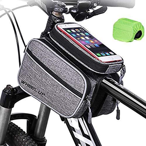 YPSMLYY wasserdichte Fahrradtasche Fahrradrahmentasche Touchscreen-Aufbewahrungstasche Für Das Oberrohr des Fahrrads Für Mobiltelefone Unter 6 Zoll