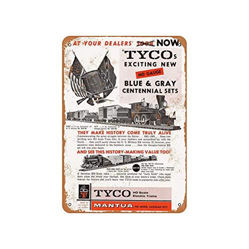 43LenaJon Cartel de metal rústico Tyco trenes eléctricos, estilo vintage, decoración de...