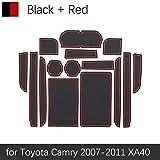 OLDJTK For Toyota Camry 2007 2008 2009 2010 2011 XV40 40 Daihatsu Altis Aurion Puerta de la Estera Vi 6 Coches Groove Rubber Mat Interior cojín de la Taza (Color : Red 2007 2011 Camry)