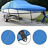 PARTS-DIYER 210D Oxford Fabric Heavy Duty Waterproof Boat Cover Replacement for V-Hull,Pro-Style,Fishing Boat,Runabout,Bass Boat (Blue, Length:17-19ft,Beam Width:up to 96')