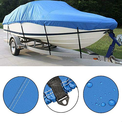 "PARTS-DIYER Oxford Fabric Heavy Duty 210D Waterproof Boat Cover Replacement for Jon Boat, V-Hull, Pro-Style, Fishing Boat, Runabout, Bass Boat Covers (Blue, Length:14-16ft,Beam Width:up to 90"")"