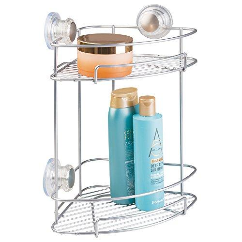 mDesign Hoekdoucheplank met praktische zuignappen, zilverkleurig - doucheplank met twee verdiepingen zonder boren voor shampoo, douchegel, scheerapparaat enz.