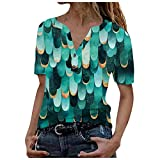 Routinfly Blusa de manga larga para mujer, estilo informal, camiseta de manga corta, cuello redondo, camiseta básica, de deporte, vintage, parte superior