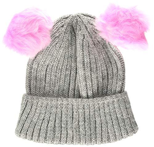 Hatley Mädchen Winter Hat Mütze, Grau (Pom Pom Ears 020), Large