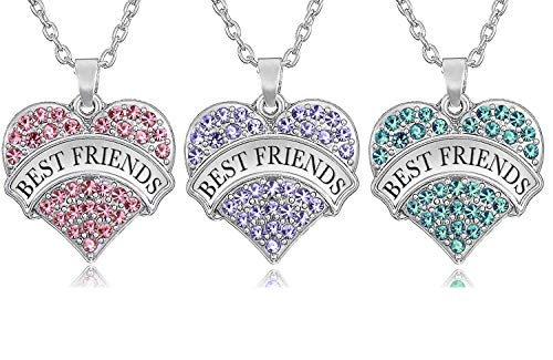 claires friend sisters Friendship Gift for 3 - Set of 3 ''Best Friends'' Heart Necklaces, Jewelry Gifts for BFF Besties, Sisters, Girls, Teens, Women