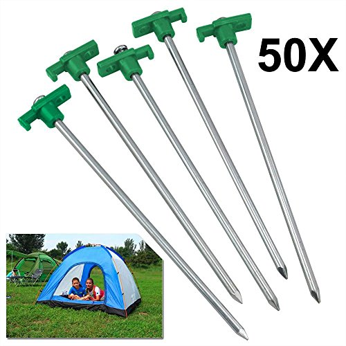 Yaheetech 50pcs Heavy Duty Tent Pegs-25cm Hard Ground Standing Camping Pegs Stakes,Green