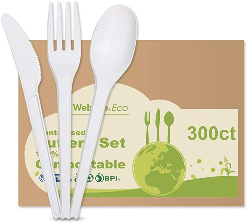 Disposable Biodegradable 100 Compostable Forks Spoons Knives Cutlery Set 300 Bulk Utensils For Travel Camping Plant Based Durable Plastic Cutlery Alternative 100 Forks 100 Spoons 100 Knives