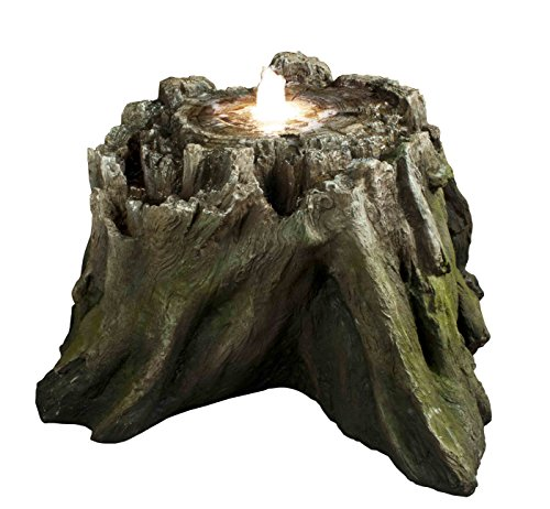 Huge Real-to-Life Everlasting Spring Log Fountain w/LED Lights: Monumental Outdoor Yard & Garden Water Feature - Hand-Crafted Weather Resistant Resin w/Natural Wood Finish – Recirculating Pump