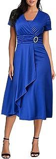 Women's Sexy V Neck Dress Short Sleeve Plain Dress Irregular Hem Party Evening Dress