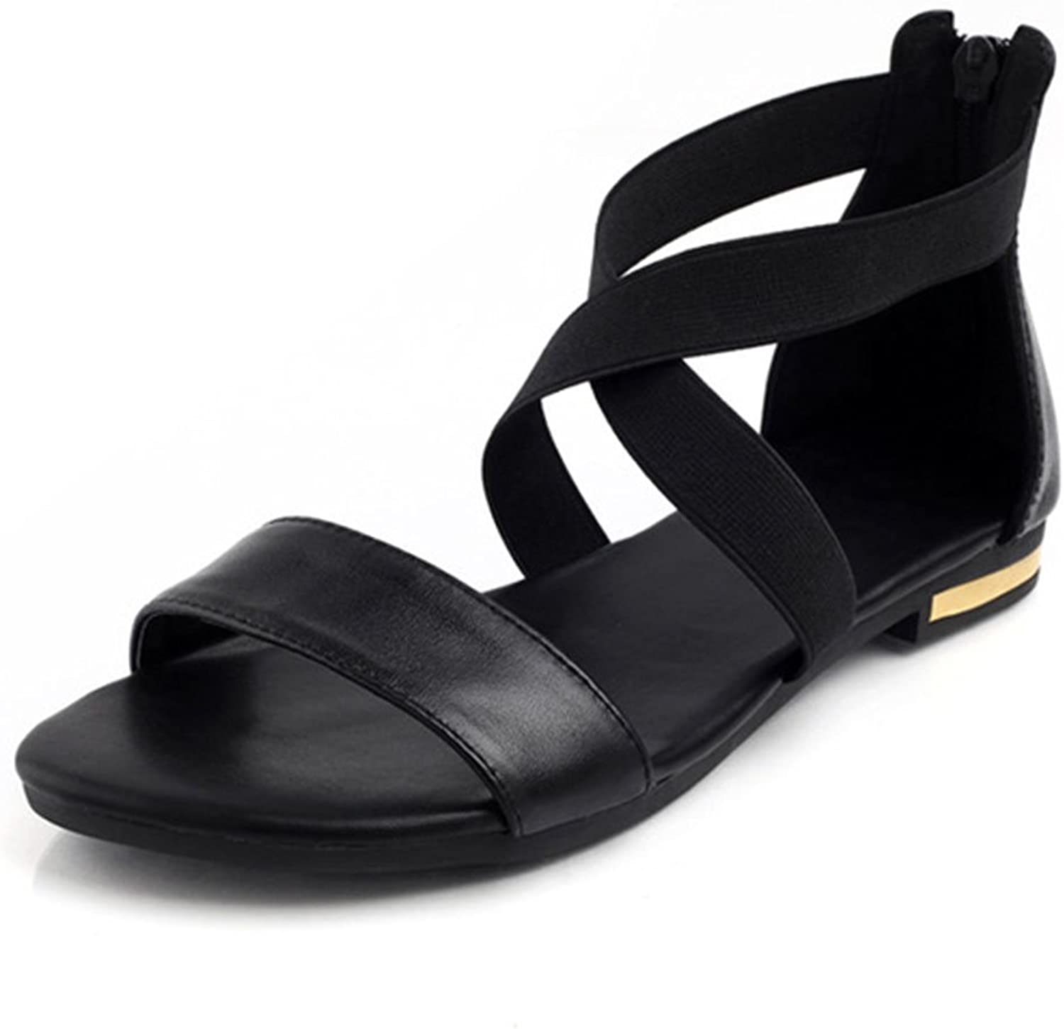 Mageed Solid Black Genuine Leather Low Heels Sandals Women Comfortable Casual shoes