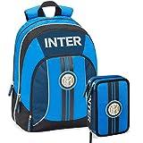 F.C. Inter Schoolpack Zaino Scuola Organizzato 3 Cerniere più Astuccio 3 Zip Completo di Cancelleria