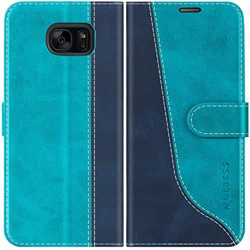 Mulbess Handyhülle für Samsung Galaxy S7 Edge Hülle, Samsung S7 Edge Hülle Leder, Etui Flip Handytasche Schutzhülle für Samsung Galaxy S7 Edge Case, Mint Blau