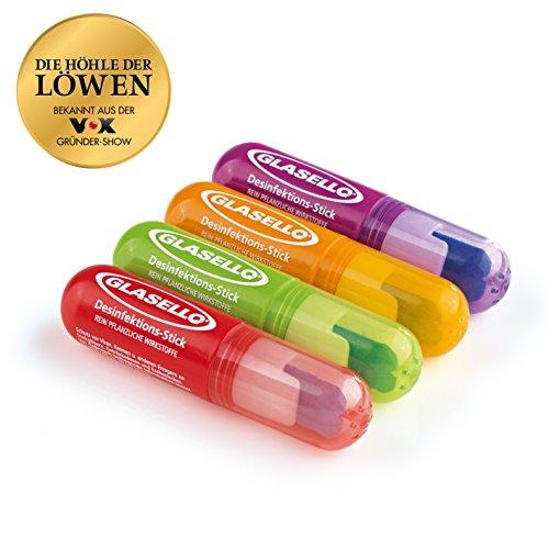 Glasello Desinfektions-Stift 4-tlg. 5 ml in Grün/Lila/Orange/Rot