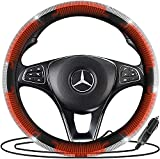 Zone Tech Car Steering Wheel Bling 12V Heated Cover - Classic Black and White Diamonds Rhinestone Premium Quality Ultra Comfortable Leather Universal Fit