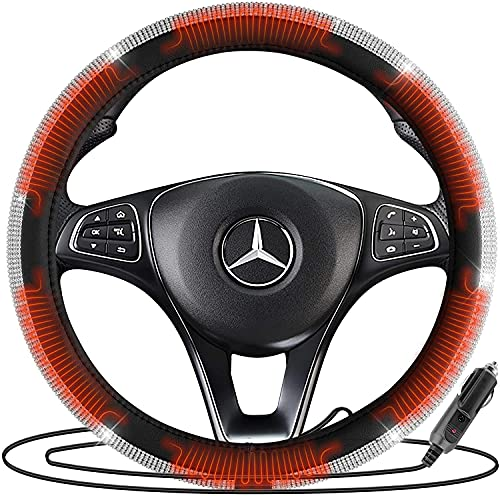 Zone Tech Car Steering Wheel Bling 12V Heated Cover - Classic...