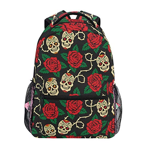 Mochilas Sugar Skulls para mujeres y hombres, diseño de hojas de rosas para computadora portátil, mochila para el día de los muertos, bolsa de viaje, camping