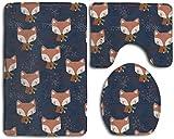 GGdjst U-Shaped Contour Rug + Lid Toilet Cover + Bath Rug 3 Piezas Juego de Alfombra de Baño Set Memory Foam Water Absorbent Bathroom Carpet Cute Fox