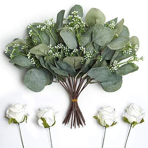 """18 Pcs Artificial Seeded Eucalyptus Leaves Stems Faux Silver Dollar Bulk Eucalyptus Leaves Plant in Grey Green 11"""" Tall Artificial Greenery Holiday Greens Wedding Greenery Bouquet Floral Arrangement"""