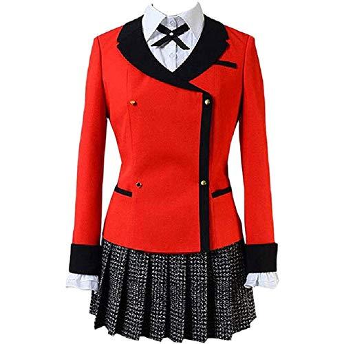 LJLis Anime japonés Holiday Cosplay Disfraces Anime Kakegurui Yumeko Jabami Japanese School Girls Uniforme Conjunto Completo,S