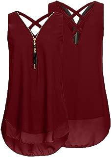 LISTHA Loose Sleeveless T Shirt Tops Tank Top Cross Back Hem Layed Zipper