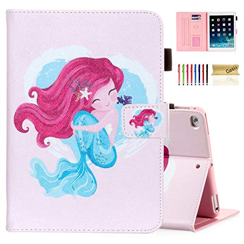 Casii Case for iPad 9.7 2018/2017, iPad Air 2/iPad Air, Synthetic Leather Folio Stand Smart Magnetic Cover with Auto Sleep Wake for iPad 5th/6th Generation [Corner Protection], Sweet Mermaid