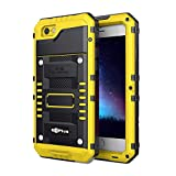 Beeasy Funda para iPhone 6 Plus / 6S Plus,Antigolpes Robusta Impermeable Carcasa Waterproof Anticaídas Blindada Dura Hermética Grado Militar Heavy Duty Metálica con Protector de Pantalla,Amarillo