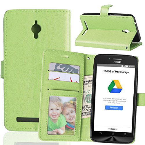 FUBAODA für Asus Go ZC500TG Hülle, Flip PU Leder Brieftasche Hülle + Kostenlos Syncwire Ladekabel, mit ID/Bargeld/Karten Aussparrung und Ständerfunktion für Asus ZenFone Go ZC500TG (grün)