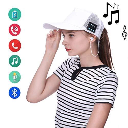 BFZJ Auricular Bluetooth inalámbrico Música Deporte Gorro Manos Libres portátil Sun Hat Auriculares de música Inteligentes Adecuados para Dispositivos con Bluetooth (Color : White)
