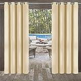 Outdoor Vorhänge 4 Stück (132 * 215cm) Gartenlauben Balkon-Vorhänge Gardinen Verdunkelungsvorhänge mit Ösen, Vorhang Wasserdicht Mehltau beständig, Pavillon Strandhaus