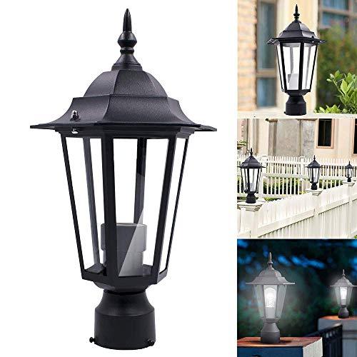 JALAL Yard Lantern Lamp Outdoor Garden Patio Driveway Fixture LED Light with Post Rod Pole