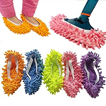 10 PCS 5 Pairs Dust Duster Mop Slippers Shoes Cover Multi Function Washable Microfiber Foot Socks Floor Cleaning Shoes Cover for House Kitchen Office