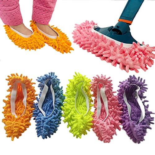 10 PCS 5 Pairs Dust Duster Mop Slippers Shoes Cover, Multi Function Washable Microfiber Foot Socks...