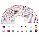 Outus Selbstklebende Strasssteine Aufkleber Vielfärbig Verschiedene Formen, 4 Größe, 8 Blätter, 674 Stück -