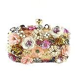 Ai-yixi Bolsos de diseño clásico de lujo de moda para mujer, bolsos de decoración de flores, embragues, cadena de Eventide Crossbody Bolsos de fiesta perfectos salvajes (color dorado, tamaño: A)
