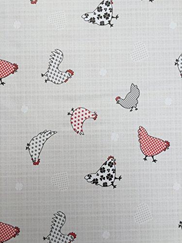 The Tablecloth Company Nappe ronde en PVC/vinyle - Style bistrot, motif poules - 1 mètre de diamètre
