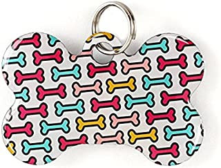 Dynotag Web/Location Enabled QR Code Smart, Deluxe Coated Steel Pet Tag - Play Series - Bone