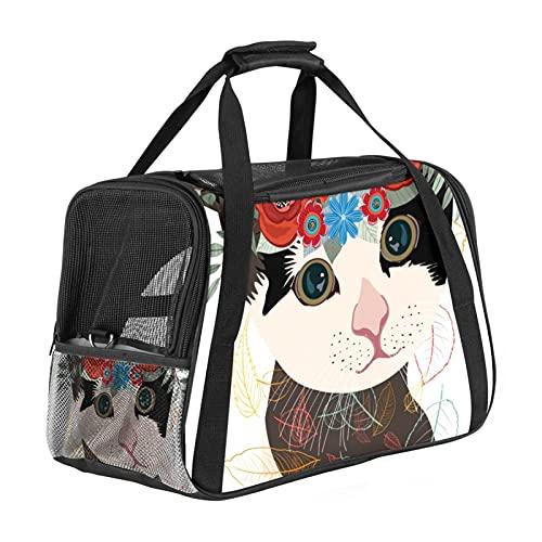 Bolsa portadora de mascotas para gatos artísticos con flores, bolsa de transporte portátil de cara suave para perros pequeños con asa de transporte y correas de hombro, aprobada por aerolínea, viaje