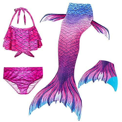 Le SSara 2018 New Muchachas Sirena Tails Bikini Traje de baño 4PCS Traje de baño con Aleta para Nadar Cosplay (120, GB07-Blue)