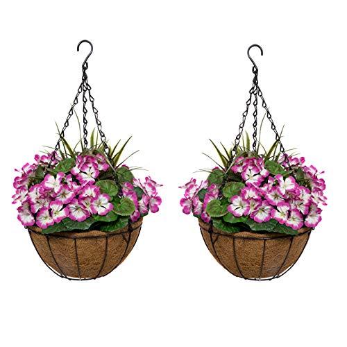 GreenBrokers 2X Artificial Round Coir Hanging Baskets with Purple Geraniums (Set of 2) 2 x künstliche Hängekörbe aus Kokosfaser mit lila Geranien (2 Stück)
