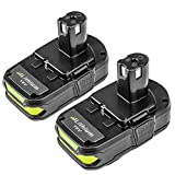 P102 2500mAh Replacement for Ryobi 18V Lithium Battery P104 P105 P102 P103 P107 for Ryobi 18-Volt ONE+ Cordless Tools Batteries (2Pack)