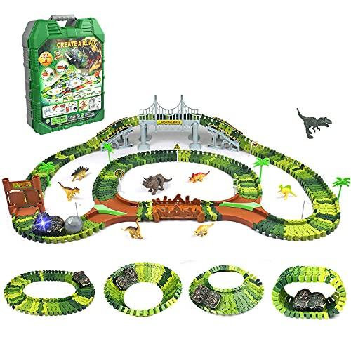 Symiu Dinosauri Jurassic Animali Park Pista Macchinine Elettriche Cars Dinosauro Giocattolo Costruzioni Giochi per Bambini Bambino Bambina 3 4 5 6 Anni
