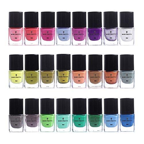 Born Pretty 6 ml stamping Vernis Candy Couleur Nail Art Plaque d'impression Vernis laque 24 Bottles